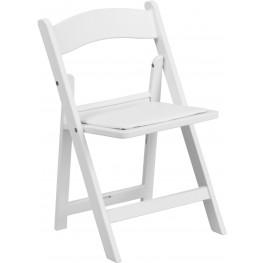 Kids White Resin Vinyl Padded Seat Folding Chair