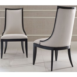 Symphony Platinum & Black Tie Upholstered Back Side Chair Set of 2