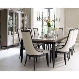 Symphony Platinum & Black Tie Extendable Rectangular Dining Room Set