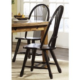 Treasures Black Sheaf Back Side Chair Set of 2