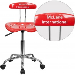 32156 Personalized Vibrant Cherry Tomato And Chrome Tractor Seat Task Chair (Min Order Qty Required)