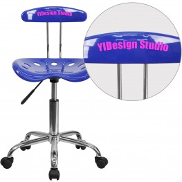 32168 Personalized Vibrant Nautical Blue And Chrome Tractor Seat Task Chair (Min Order Qty Required)