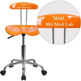 32171 Personalized Vibrant Orange And Chrome Tractor Seat Task Chair (Min Order Qty Required)