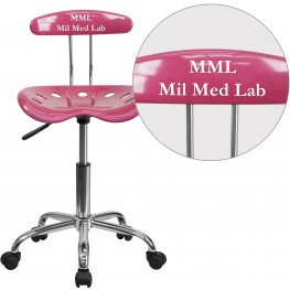 32179 Personalized Vibrant Pink and Chrome Tractor Seat Task Chair