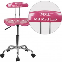 32180 Personalized Vibrant Pink and Chrome Tractor Seat Task Chair