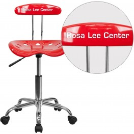 32184 Personalized Vibrant Red and Chrome Tractor Seat Task Chair