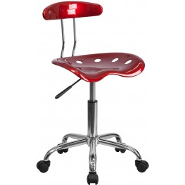 Vibrant Wine Red And Chrome Computer Tractor Seat Task Chair (Min Order Qty Required)