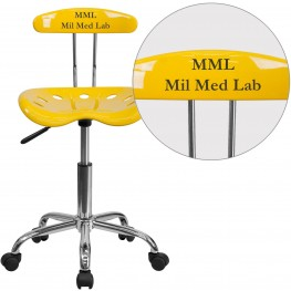 32176 Personalized Vibrant Orange-Yellow And Chrome Tractor Seat Task Chair (Min Order Qty Required)