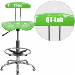 32137 Personalized Vibrant Apple Green and Chrome Tractor Seat Drafting Stool