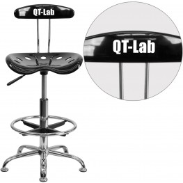32141 Personalized Vibrant Black and Chrome Tractor Seat Drafting Stool