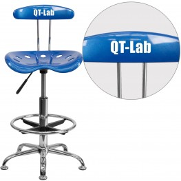 Personalized Vibrant Bright Blue And Chrome Tractor Seat Drafting Stool (Min Order Qty Required)