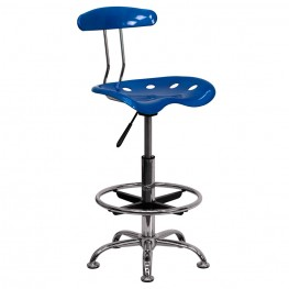 Vibrant Bright Blue and Chrome Tractor Seat Drafting Stool