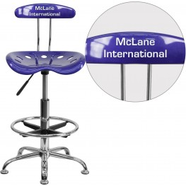 32157 Personalized Vibrant Deep Blue and Chrome Tractor Seat Drafting Stool