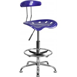 Vibrant Deep Blue And Chrome Tractor Seat Drafting Stool (Min Order Qty Required)