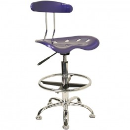 Vibrant Deep Blue and Chrome Tractor Seat Drafting Stool