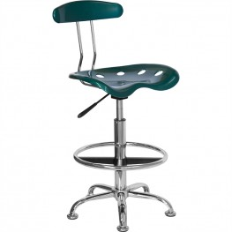Vibrant Green and Chrome Tractor Seat Drafting Stool
