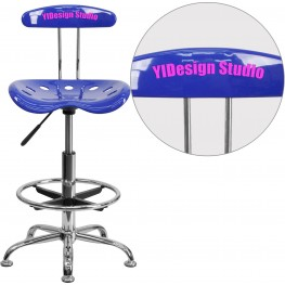32166 Personalized Vibrant Nautical Blue And Chrome Tractor Seat Drafting Stool (Min Order Qty Required)