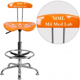 32170 Personalized Vibrant Orange and Chrome Tractor Seat Drafting Stool