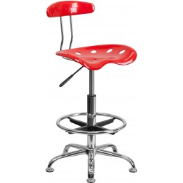 Vibrant Red And Chrome Tractor Seat Drafting Stool (Min Order Qty Required)