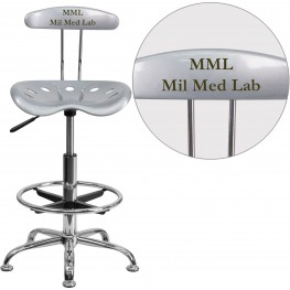 32185 Personalized Vibrant Silver And Chrome Tractor Seat Drafting Stool (Min Order Qty Required)