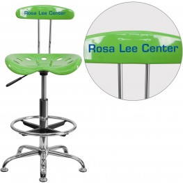 32190 Personalized Vibrant Spicy Lime and Chrome Tractor Seat Drafting Stool