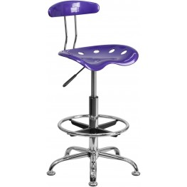 Vibrant Violet And Chrome Tractor Seat Drafting Stool (Min Order Qty Required)