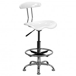 Vibrant White and Chrome Tractor Seat Drafting Stool