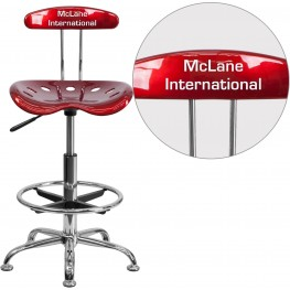 32201 Personalized Vibrant Red and Chrome Tractor Seat Drafting Stool