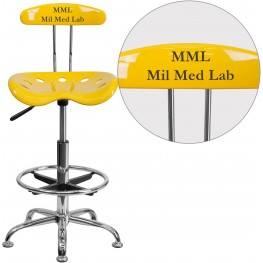 32174 Personalized Vibrant Orange-Yellow And Chrome Tractor Seat Drafting Stool (Min Order Qty Required)