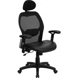 High Back Super Office Chair with Black Italian Seat