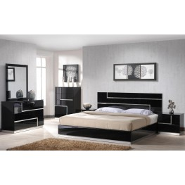 Lucca Black Lacquer Platform Bedroom Set