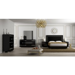 Vivente Lustro Black High Gloss Platform Bedroom Set