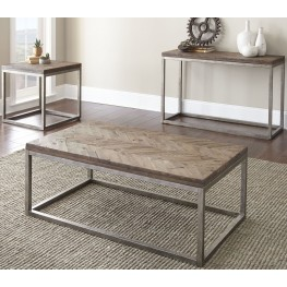 Lorenza Distressed Honey Occasional Table Set