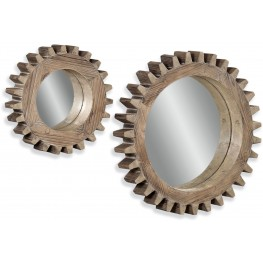 Sprockets Dark Weathered Wall Mirror Set of 2