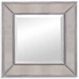 Beaded Silver Leaf Wall Mirror