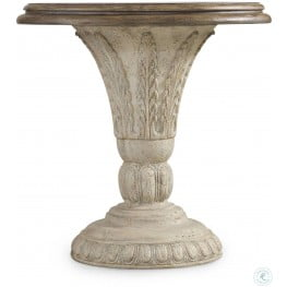 Solana Cream and Brown Round Accent Table