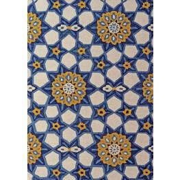 Manika Blue/Yellow Flower Tile Medium Rug