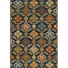 Mardi Gras Bright Color Medallion Tuscan Field Blue Small Area Rug