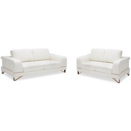Mia Bella Bianca White Rosegold Leather Living Room Set