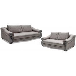 Mia Bella Light Gray Leather Living Room Set