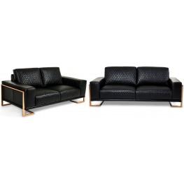 Mia Bella Black Leather Living Room Set