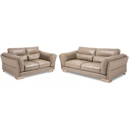 Mia Bella Beiges Taupe Leather Living Room Set