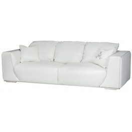 Mia Bella White Leather Mansion Sofa
