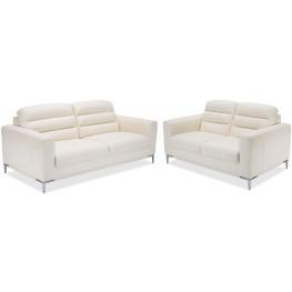 Mia Bella White Iceberg Leather Living Room Set