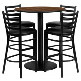 "36"" Round Walnut Table Set with Ladder Back Black Vinyl Bar Stool"