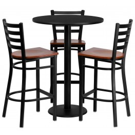 "30"" Round Black Table Set with Ladder Back Metal Bar Stool"