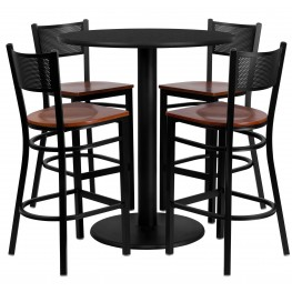 "36"" Round Black Table Set with Grid Back Metal Bar Stool"