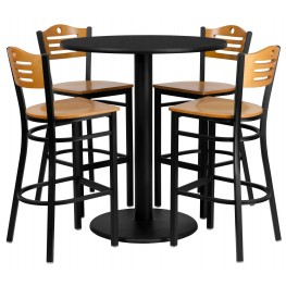 "36"" Round Black Table Set with Wood Slat Back Metal Natural Bar Stool"