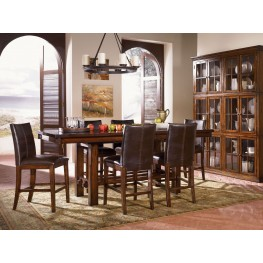 "Mesa Rustica 90"" Aged Mahogany Counter Height Trestle Dining Room Set"