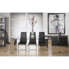 Ritz Mo Stainless Steel Fixed Rectangular Leg Dining Room Set with Regis Milo Dining Chairs